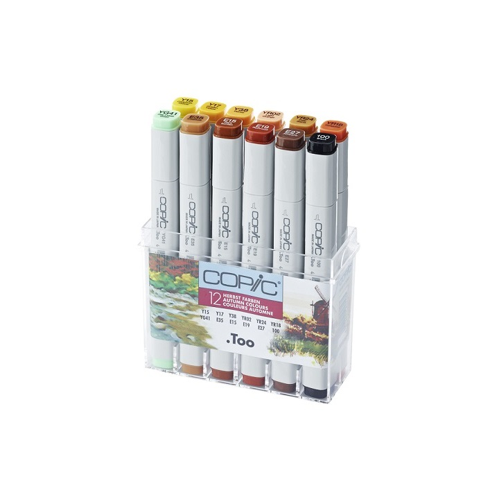Фломастери COPIC Classic Autumn Colours - сет од 12 бр