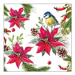 Еко салфетки за декупаж Bird on Poinsettia - 1 парче