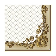Еко салфетки за декупаж Gold Frame and Net on Beige - 1 парче